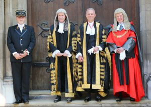 Master of the Rolls Sir Terence Etherton, Lord Chancellor The Rt Hon. David Lidington MP, the Lord Chief Justice the Rt Hon The Lord Thomas of Cwmgiedd and the Tipstaff Richard Cheesley.