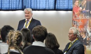 Photo of Lord Chief Justice, HHJ Overbury, Maeve Taylor, the headteacher and students at Claydon High School