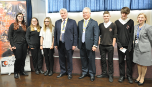Lord Chief Justice, HHJ Overbury, Maeve Taylor, the headteacher and students at Claydon High School