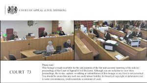 Photo of inside the Court of Appeal (Civil Division)