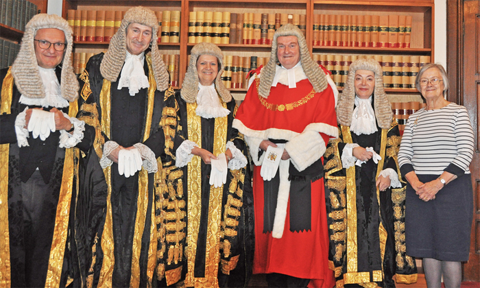 Photo of the The Chancellor of the High Court Sir Geoffrey Vos, the Master of the Rolls Sir Terence Etherton, Lady Justice Hallett, the Lord Chief Justice Lord Burnett of Maldon, the President of the Queen's Bench Division Dame Victoria Sharp, and Lady Hale, President of the Supreme Court.