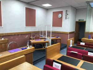 Jury box with acrylic screen at Leeds Crown Court