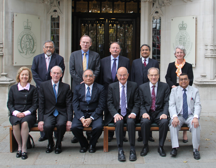 Delegation of Senior British and Indian Justices in front of The Supreme Court
